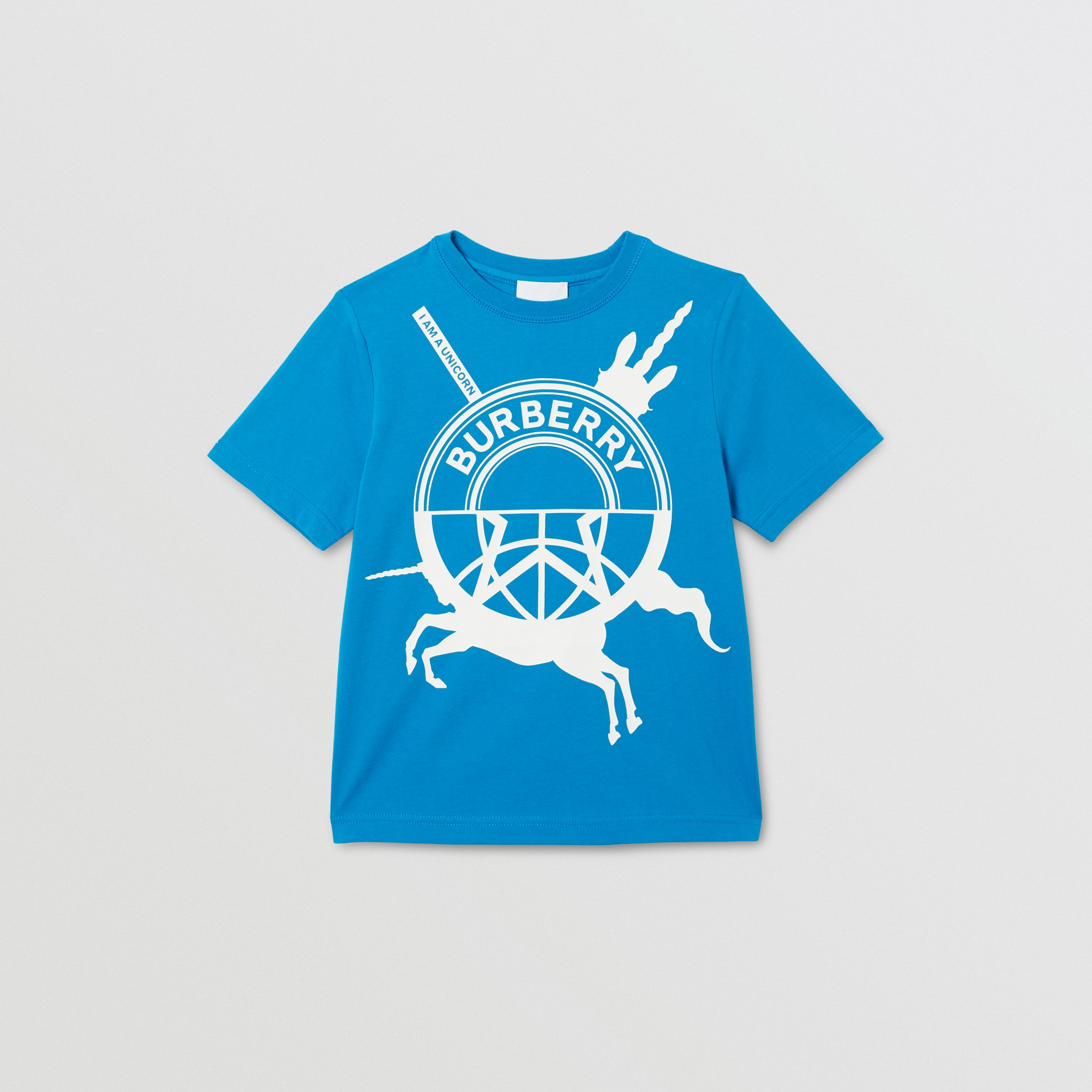 Logo Graphic Print Cotton T-shirt in Cerulean Blue | Burberry - 1