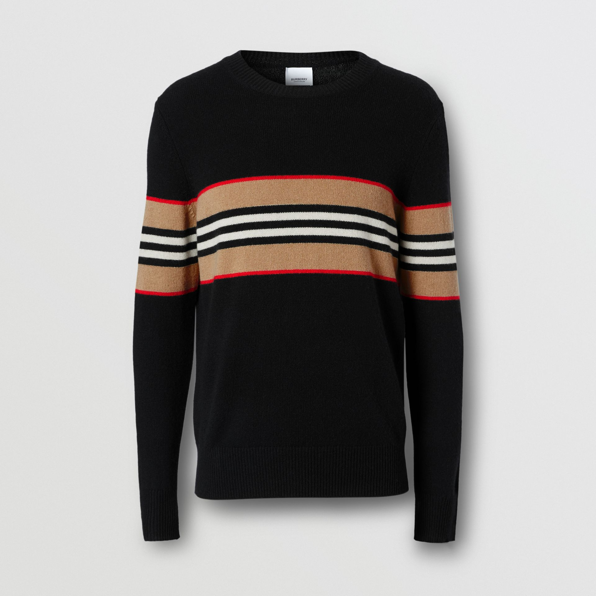 Icon Stripe Detail Cashmere Sweater in Black - Men | Burberry - gallery image 3