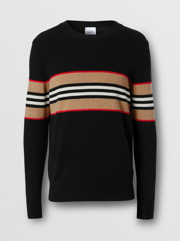 Icon Stripe Detail Cashmere Sweater in Black - Men | Burberry United Kingdom - cell image 3