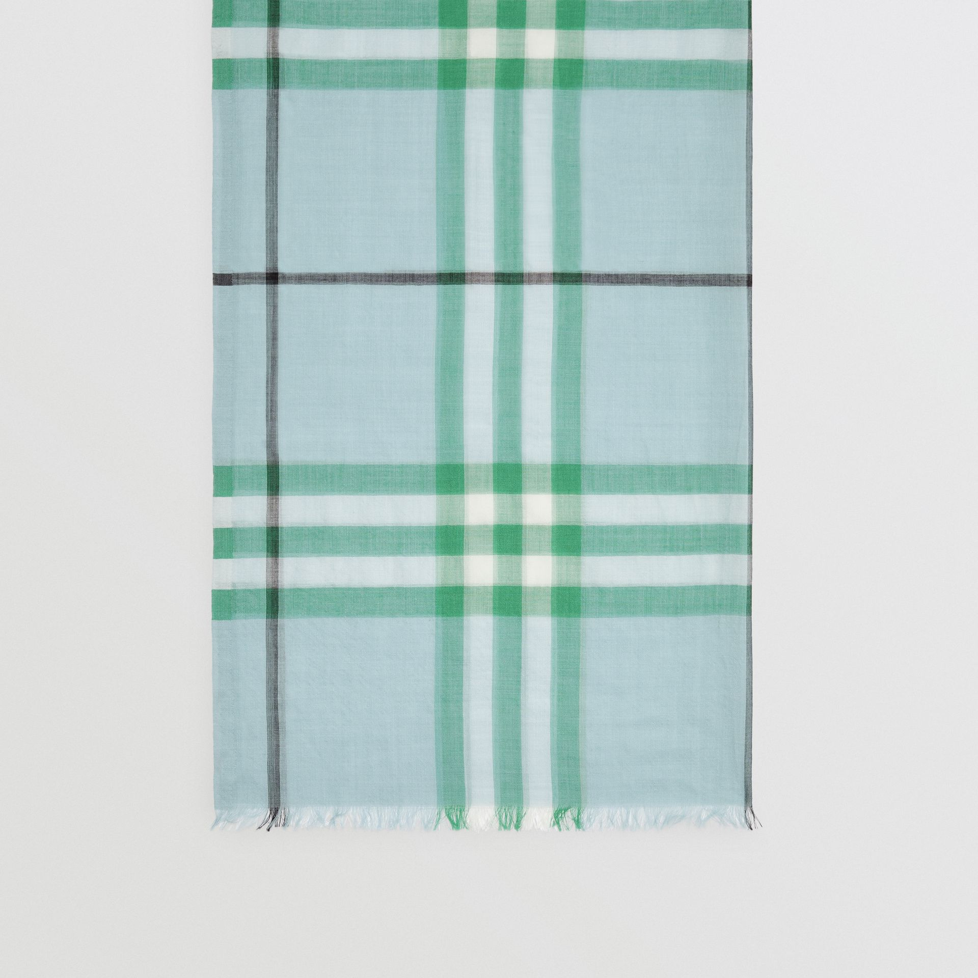 Lightweight Check Wool and Silk Scarf in Pale Peridot Blue | Burberry Australia - gallery image 4