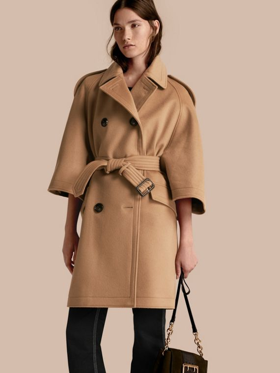 Wool Cashmere Trench Cape Coat