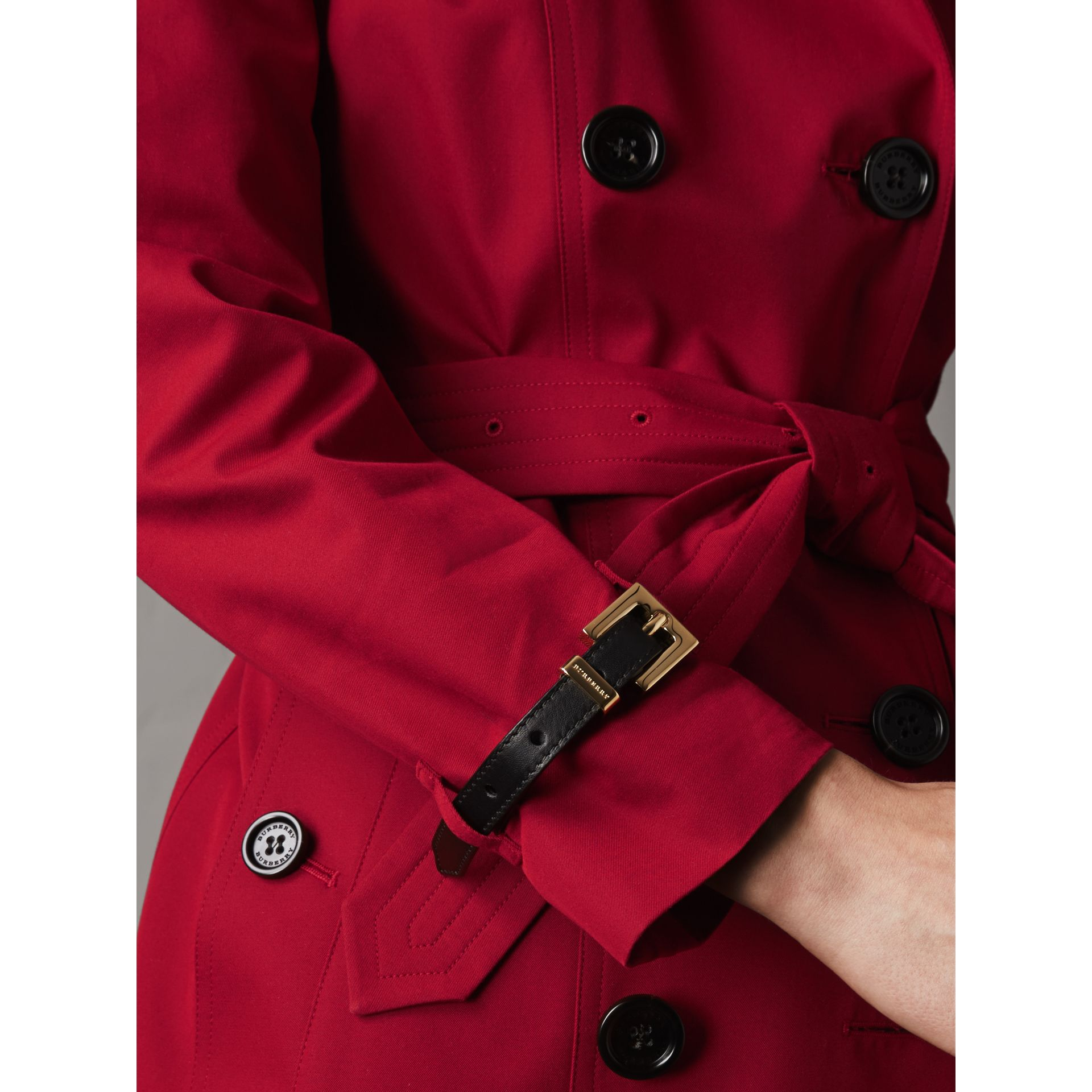 Leather Trim Cotton Gabardine Trench Coat in Parade Red - Women | Burberry - gallery image 5