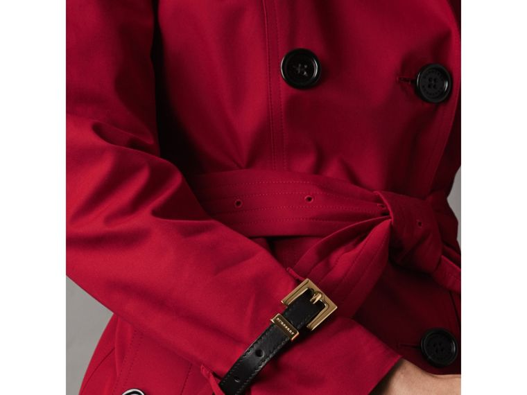 Leather Trim Cotton Gabardine Trench Coat in Parade Red - Women | Burberry - cell image 4
