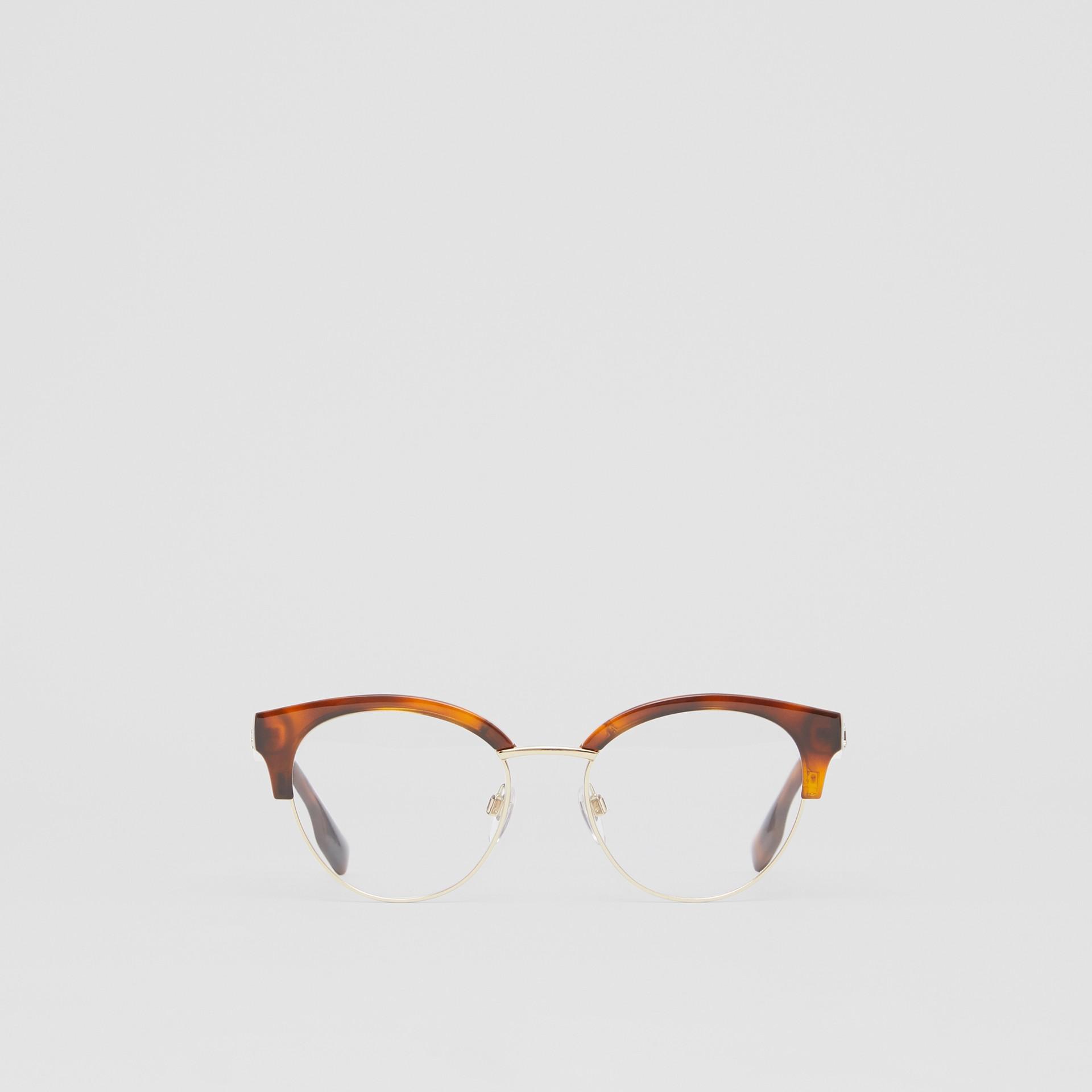 Óculos de grau com armação gatinho (Âmbar  Efeito Casco  Tartaruga) - Mulheres | Burberry - galeria de imagens 0