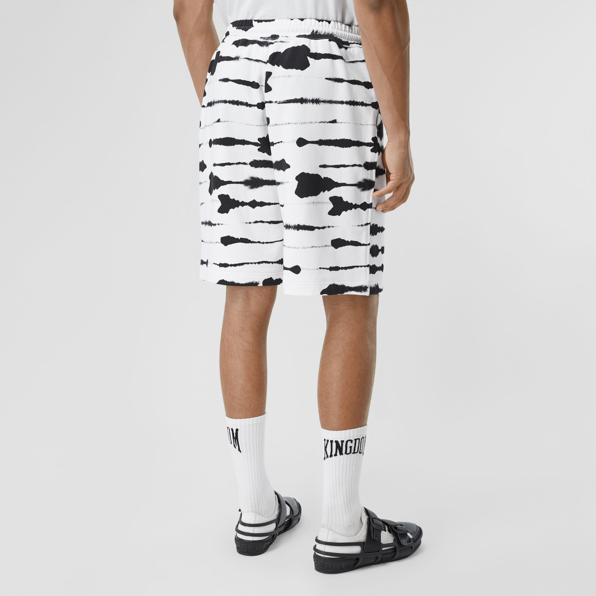 Watercolour Print Cotton Drawcord Shorts in Black/white - Men | Burberry - gallery image 2
