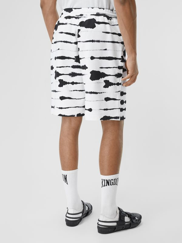 Watercolour Print Cotton Drawcord Shorts in Black/white - Men | Burberry - cell image 2
