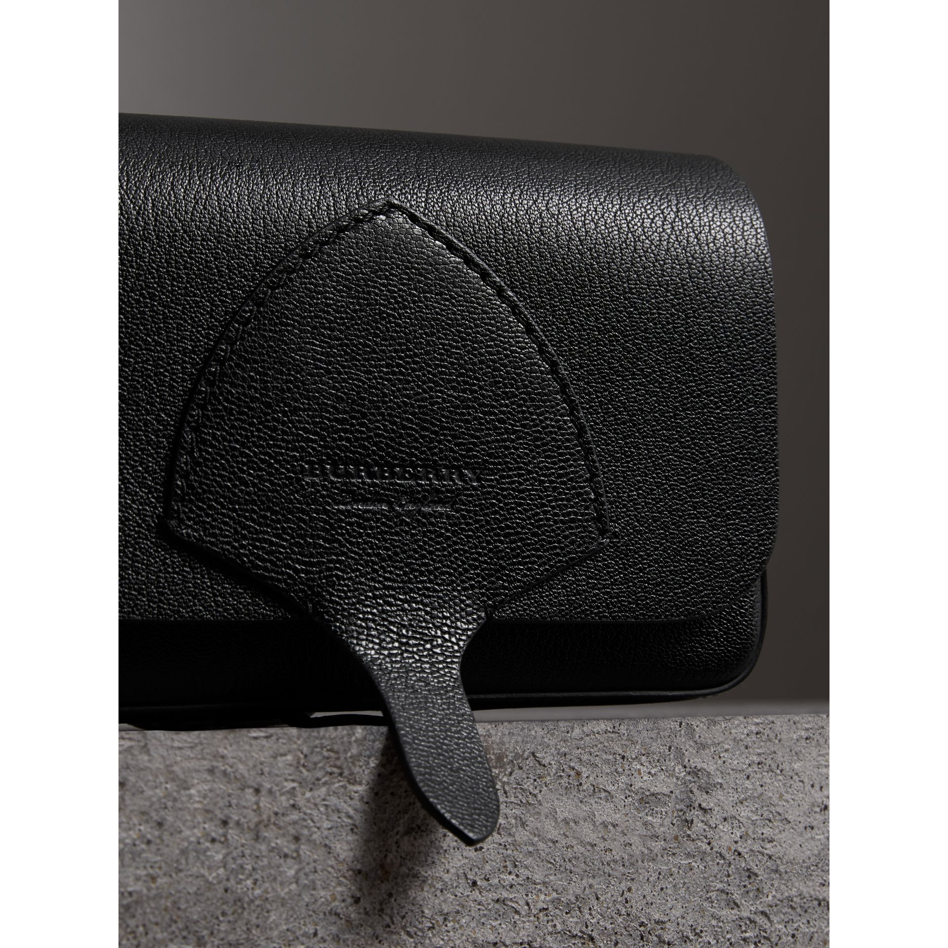 Equestrian Shield Leather Wallet with Detachable Strap in Black - Women | Burberry Singapore - gallery image 1