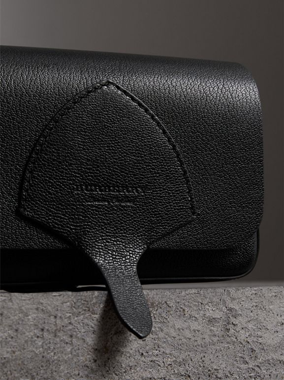 Equestrian Shield Leather Wallet with Detachable Strap in Black - Women | Burberry - cell image 1
