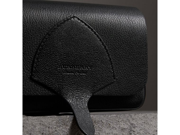 Equestrian Shield Leather Wallet with Detachable Strap in Black - Women | Burberry Australia - cell image 1