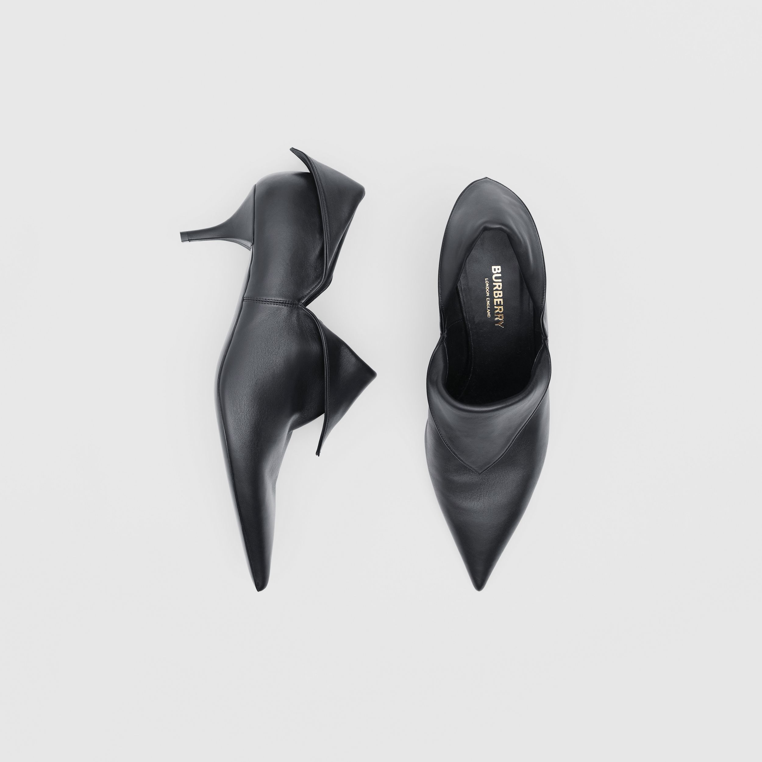 Lambskin Foldover Point-toe Pumps in Black - Women | Burberry - 1
