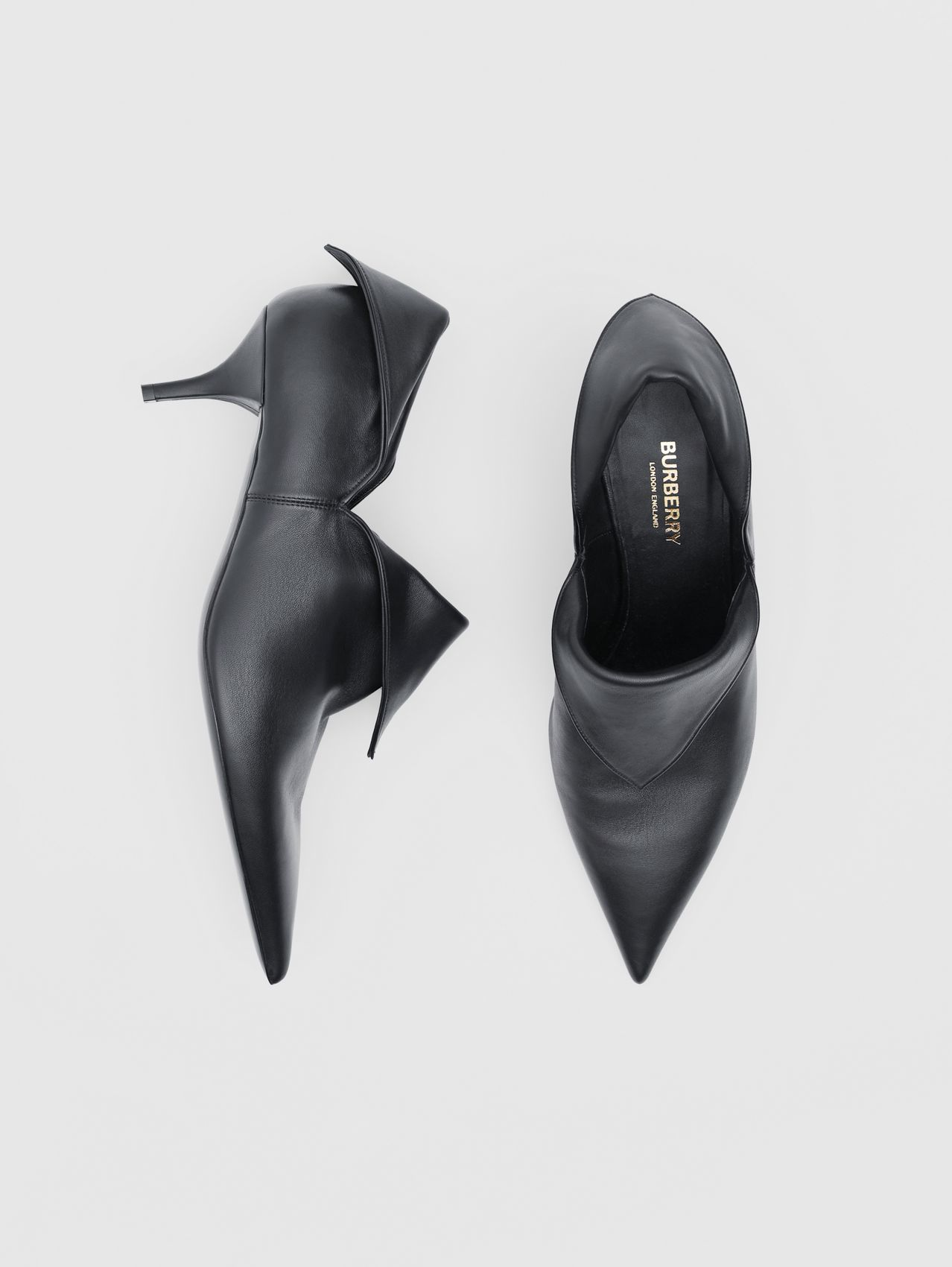 Lambskin Foldover Point-toe Pumps in Black