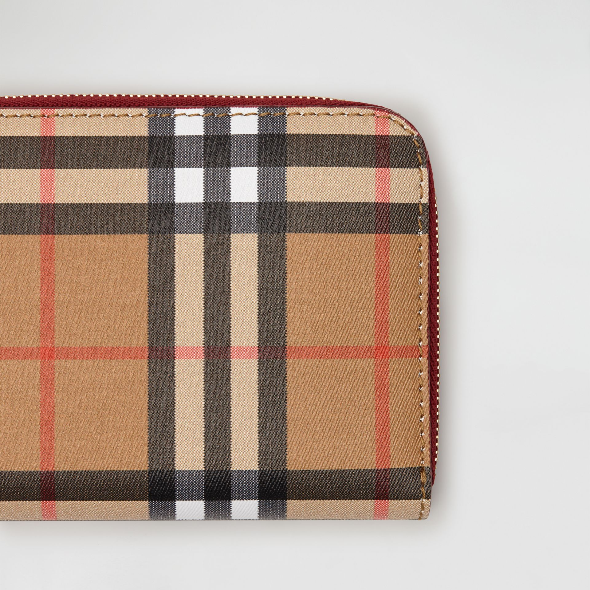 Vintage Check and Leather Ziparound Wallet in Crimson - Women | Burberry - gallery image 1