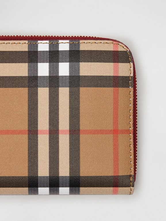 Vintage Check and Leather Ziparound Wallet in Crimson - Women | Burberry United Kingdom - cell image 1