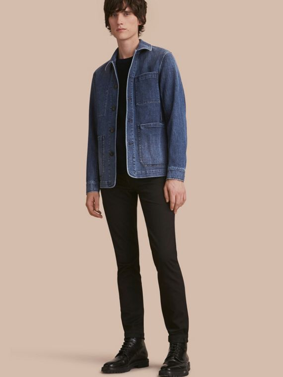 Veste utilitaire en denim stretch