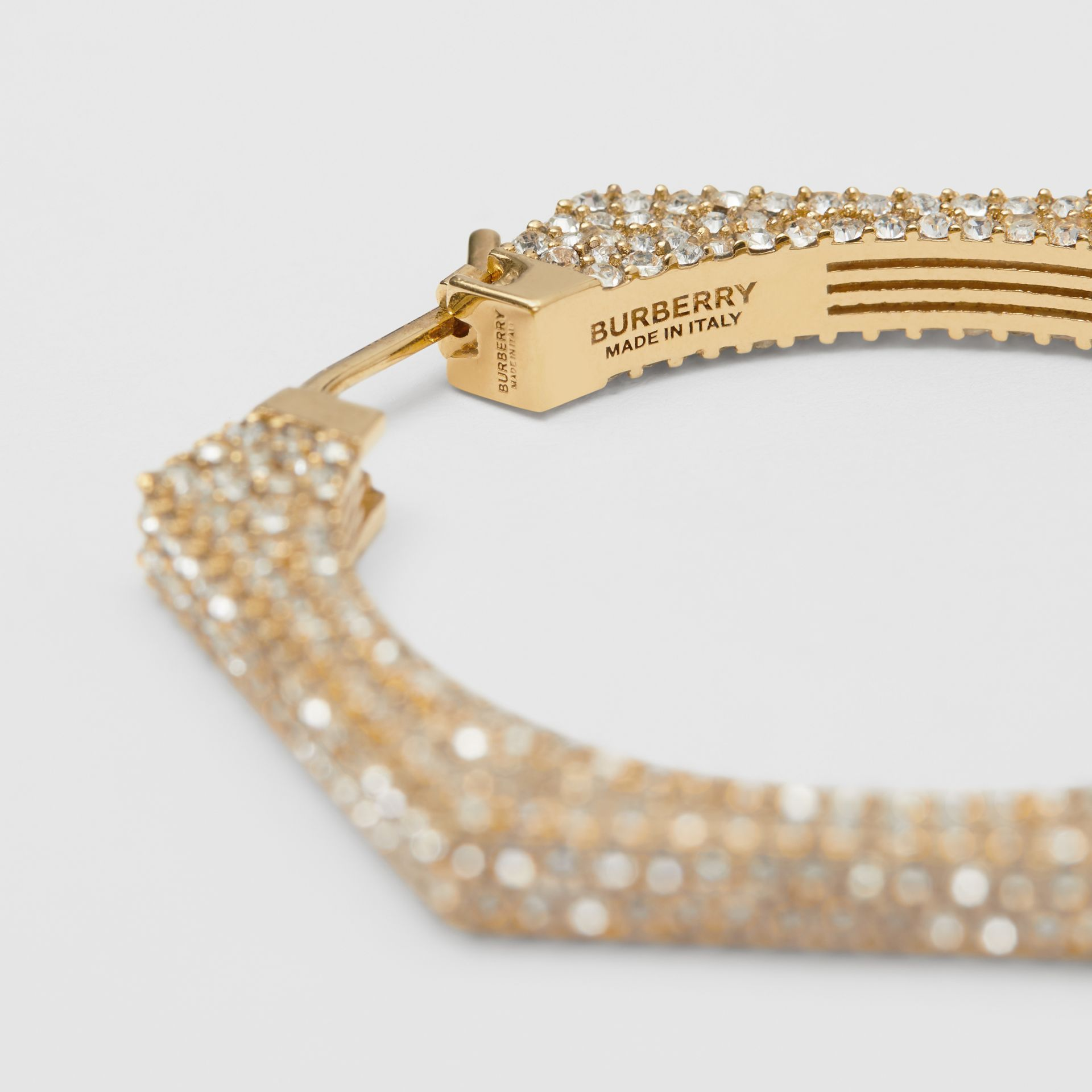 Crystal Detail Gold-plated Nut Hoop Earrings in Light Gold/crystal - Women   Burberry United Kingdom - gallery image 3