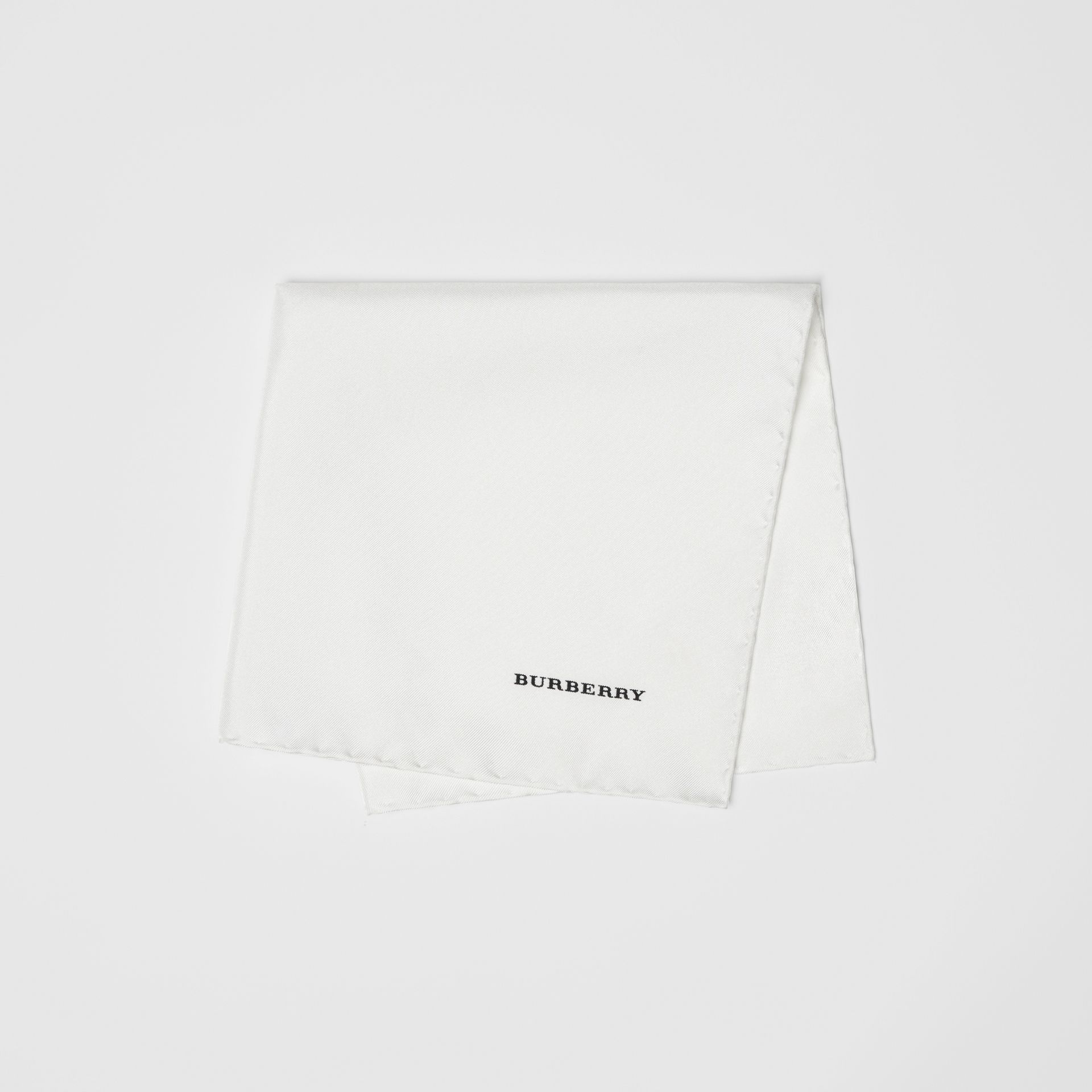Silk Pocket Square in White - Men | Burberry United States - gallery image 3