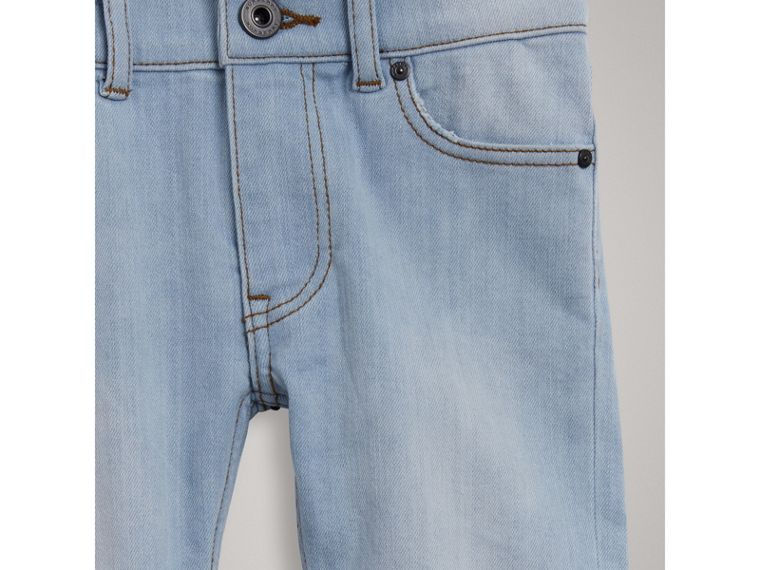Relaxed Fit Stretch Jeans in Light Blue - Boy | Burberry - cell image 4