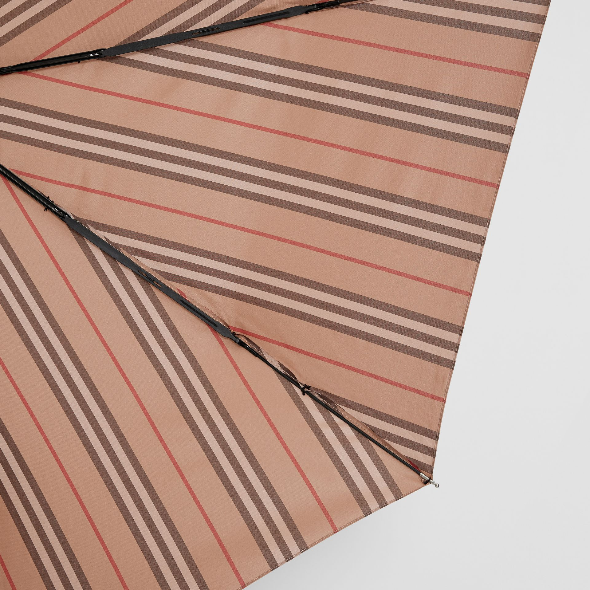 Icon Stripe Folding Umbrella in Camel | Burberry - gallery image 1