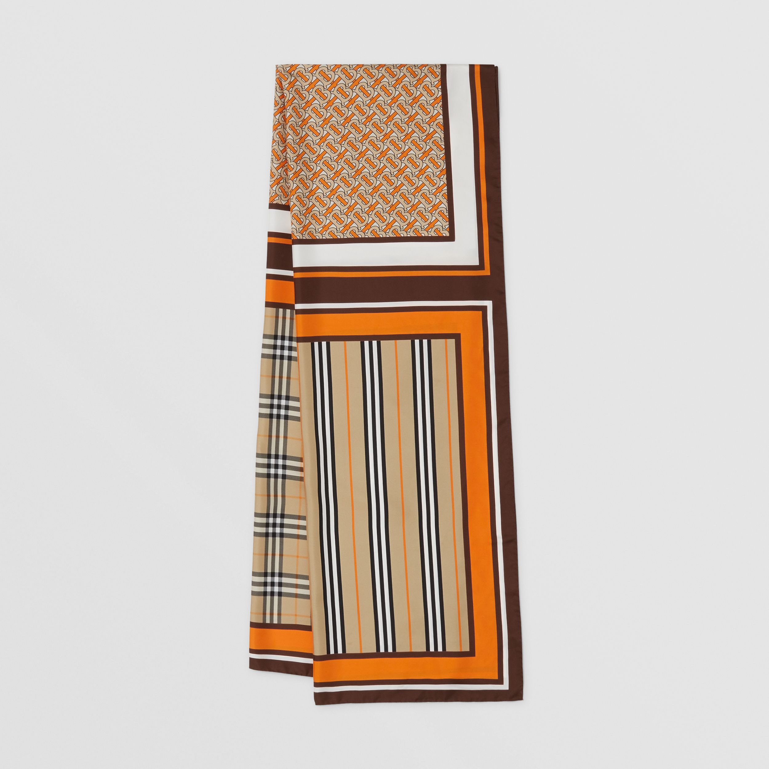 Monogram, Icon Stripe and Check Print Silk Scarf in Bright Orange | Burberry - 1