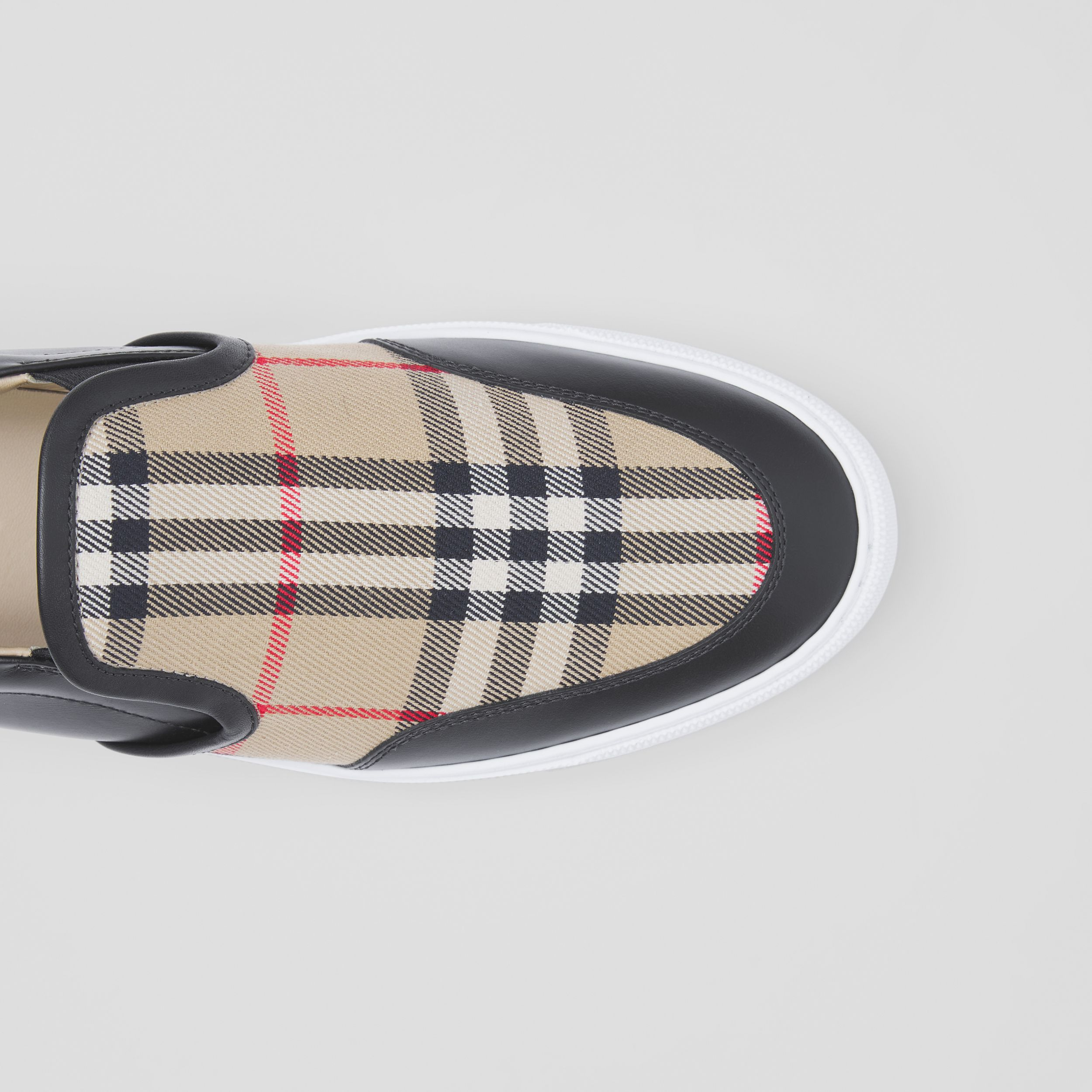 Leather and Vintage Check Slip-on Sneakers in Black - Women | Burberry - 2