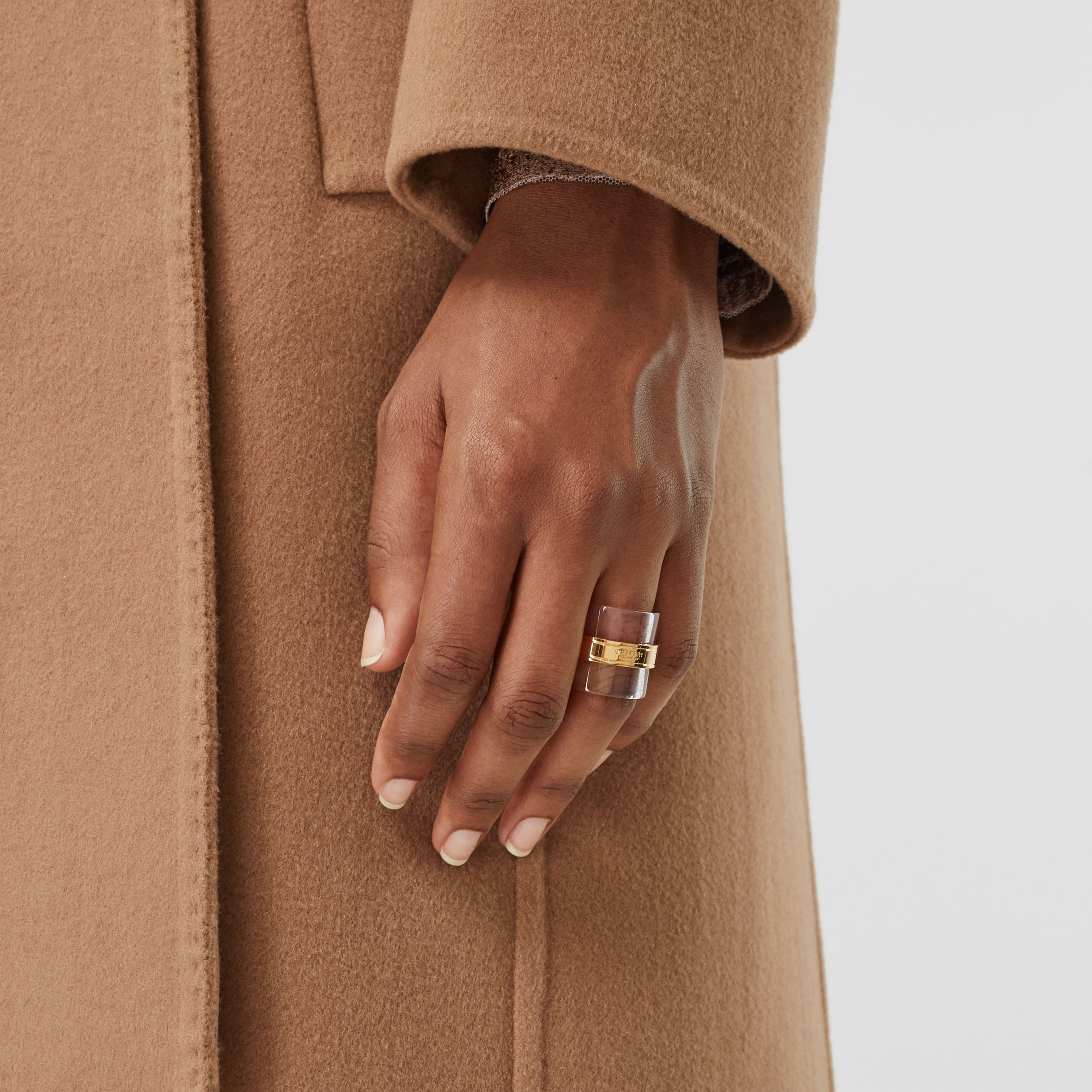 Resin and Gold-plated Cylindrical Ring in Light Gold/beige - Women | Burberry - 2