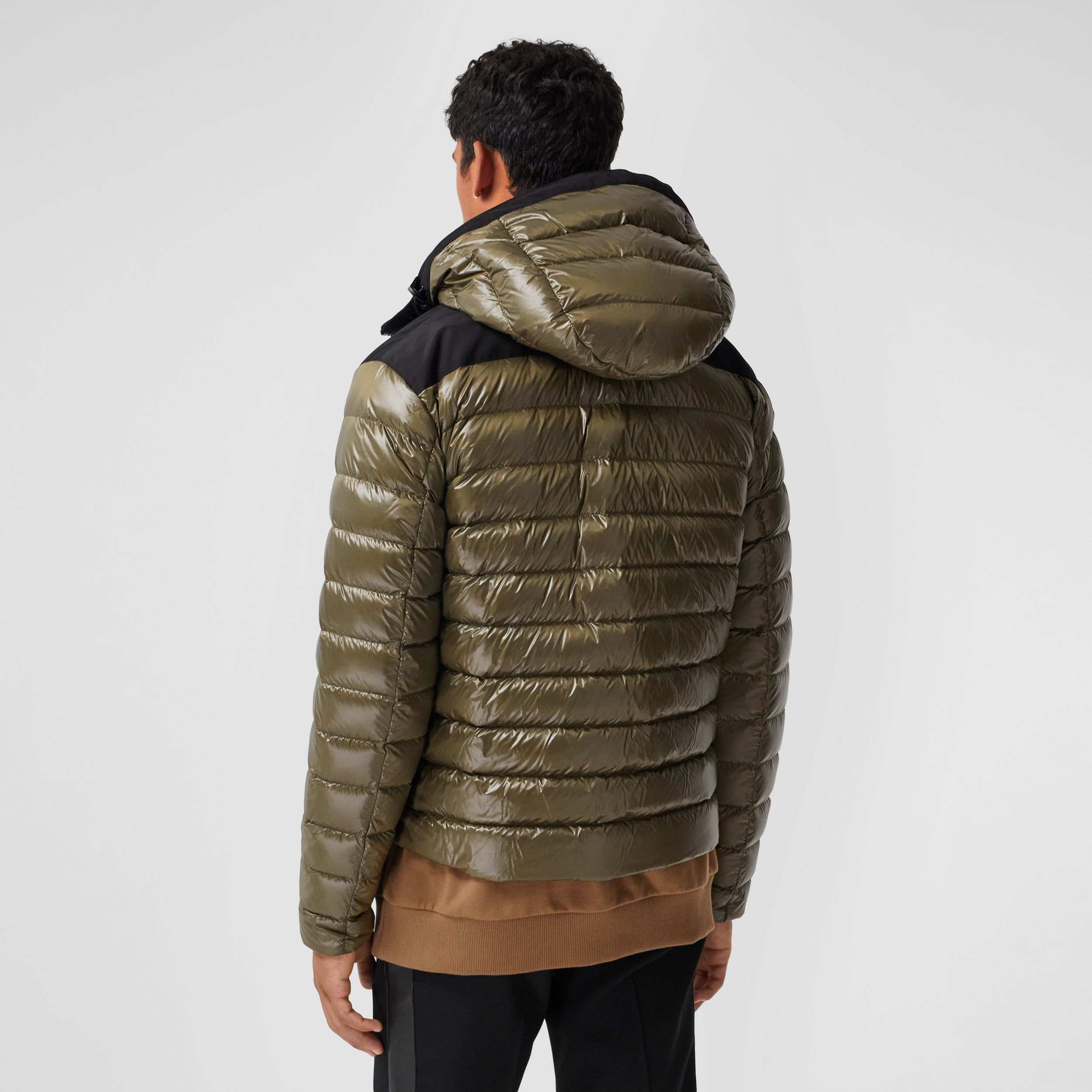 Location Print Hooded Puffer Jacket in Olive - Men | Burberry Australia - 3
