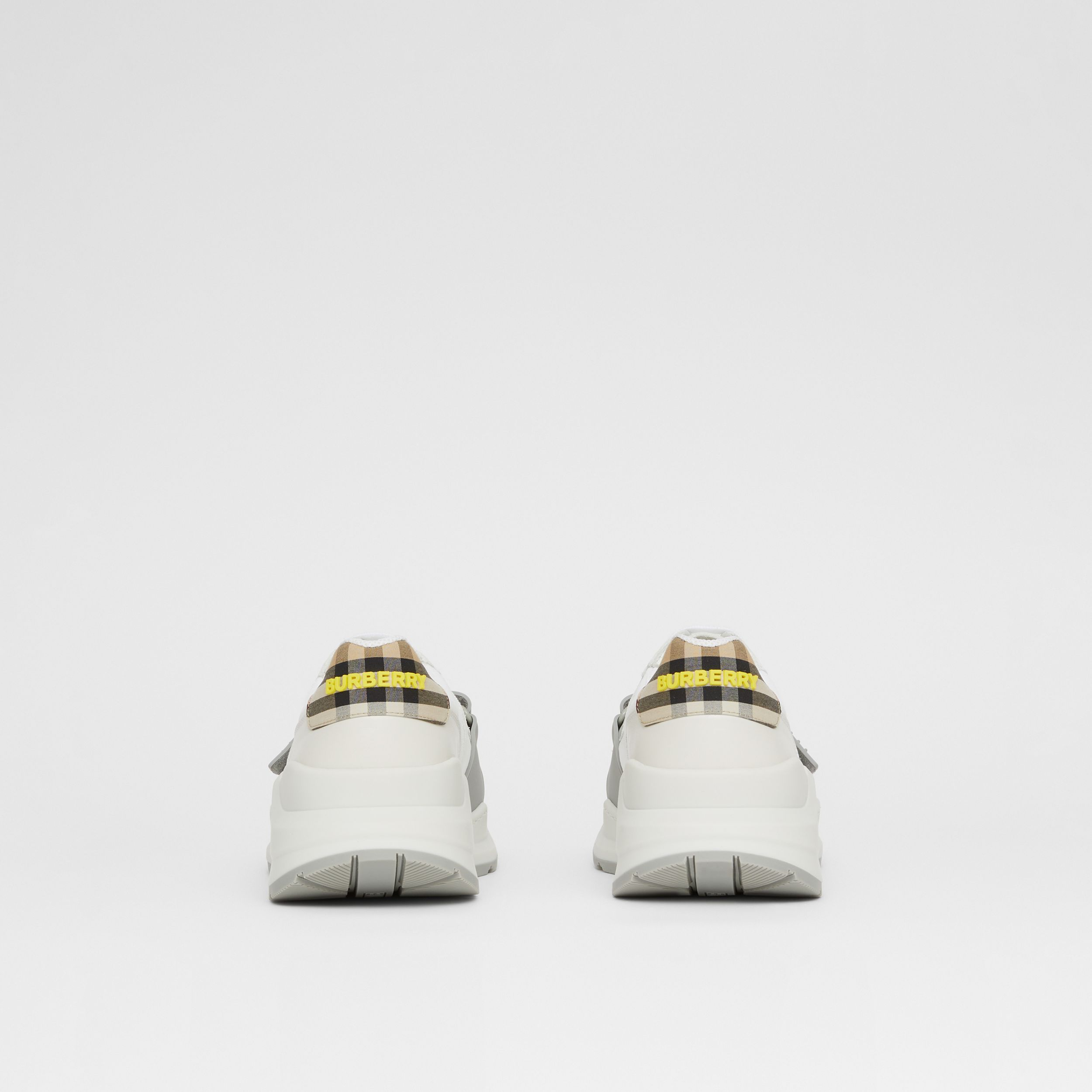 Suede, Vintage Check and Leather Sneakers in White/archive Beige/yellow - Men | Burberry - 4
