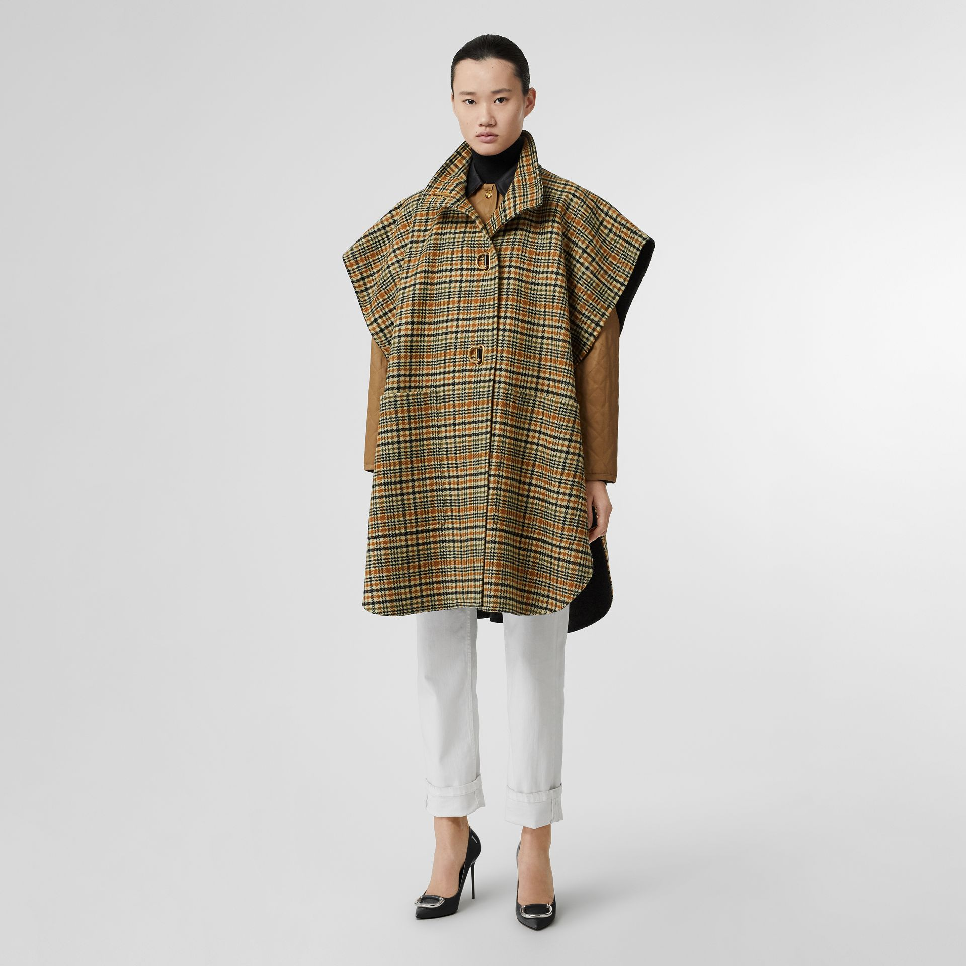D-ring Detail Check Wool Cashmere Cape in Stone Yellow - Women | Burberry Canada - gallery image 0