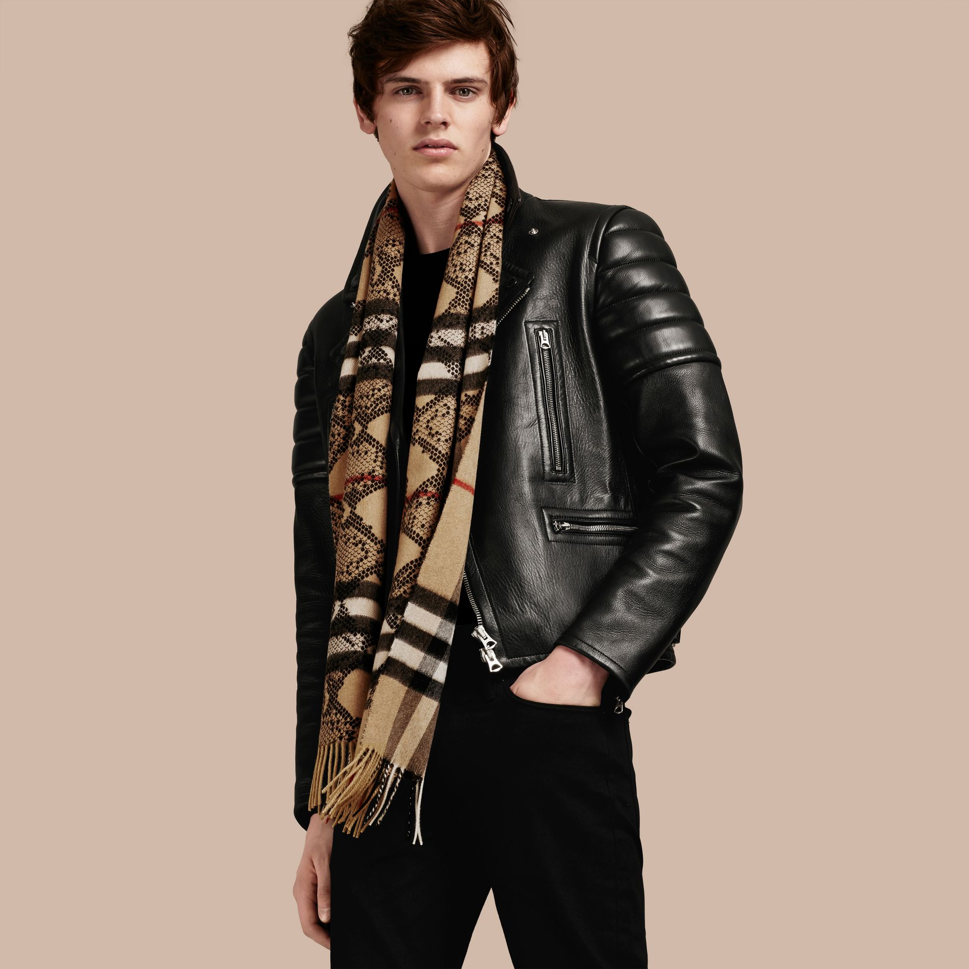 Camel/black The Classic Cashmere Scarf in Check and Python Print - gallery image 4