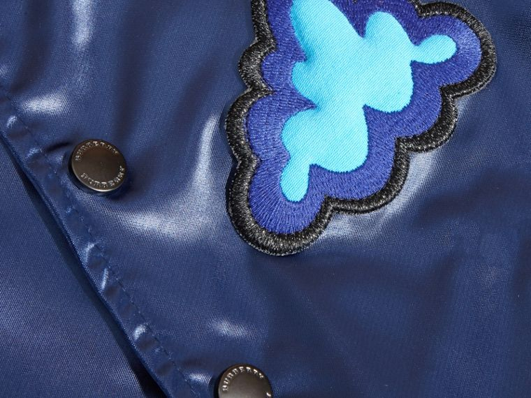 Bright navy Weather Appliqué Satin Bomber Jacket - cell image 1