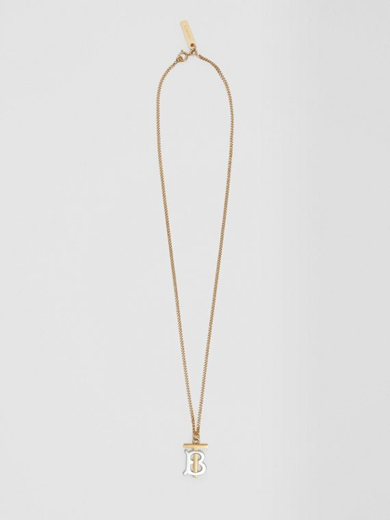 Gold and Palladium-plated Monogram Motif Necklace in Light Gold/palladium