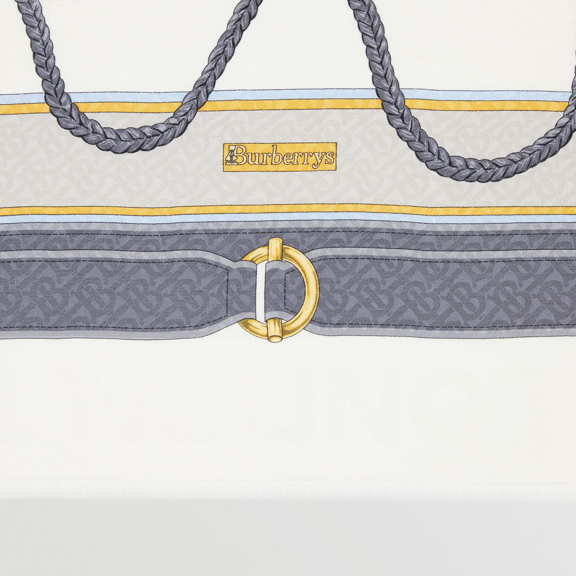 Archive Scarf Print Silk Wool Large Square Scarf in Grey | Burberry - gallery image 1
