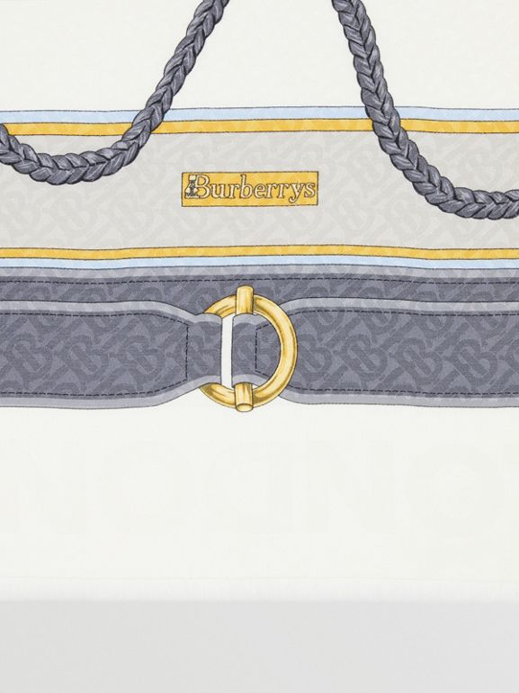典藏圍巾印花絲綢羊毛大型方巾 (灰色) | Burberry - cell image 1