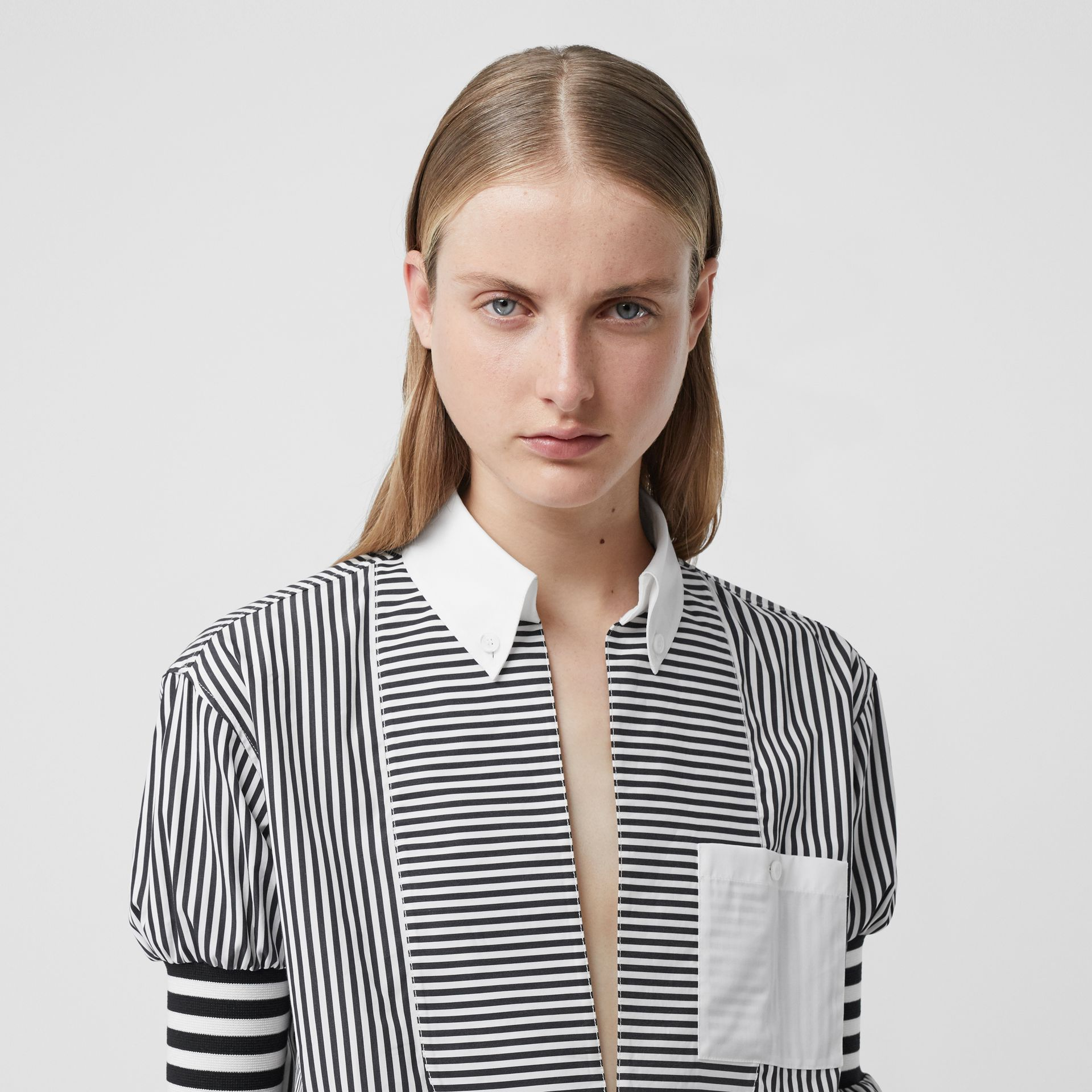 Cut-out Hem Striped Cotton Poplin Shirt in Black - Women | Burberry - gallery image 1