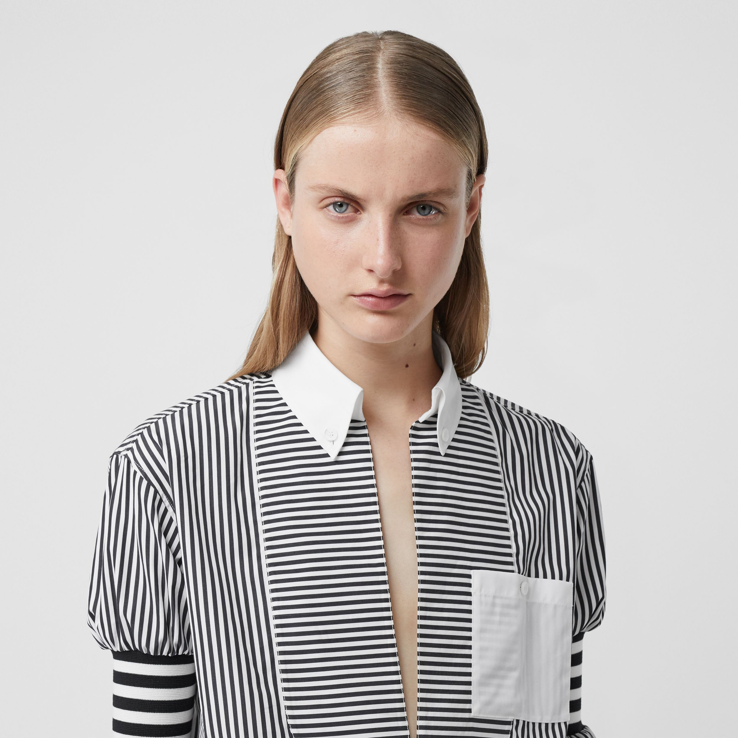 Cut-out Hem Striped Cotton Poplin Shirt in Black - Women | Burberry - 2