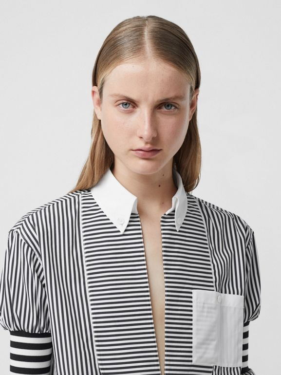 Cut-out Hem Striped Cotton Poplin Shirt in Black - Women | Burberry United Kingdom - cell image 1