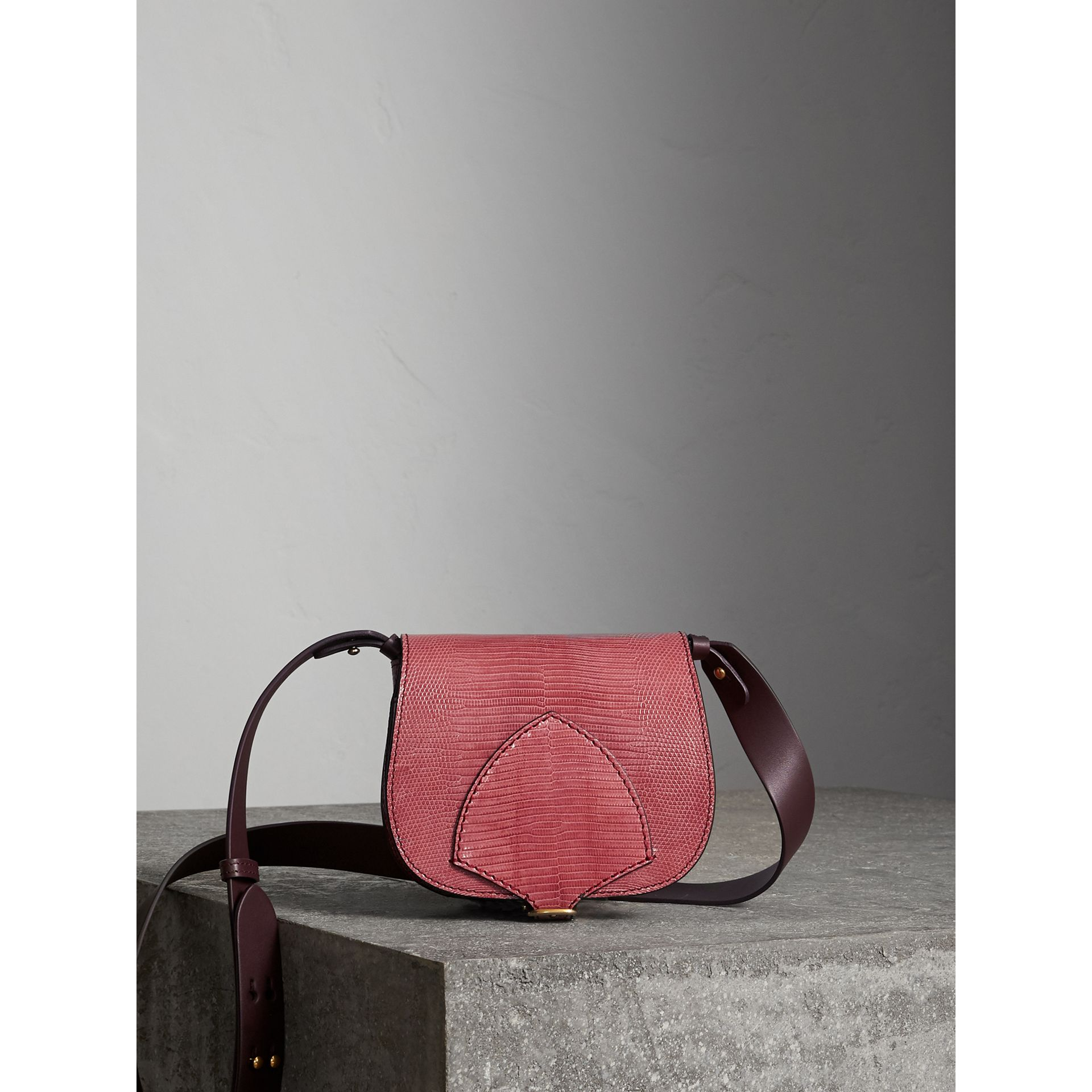 The Satchel in Lizard in Pink Azalea - Women | Burberry United Kingdom - gallery image 1