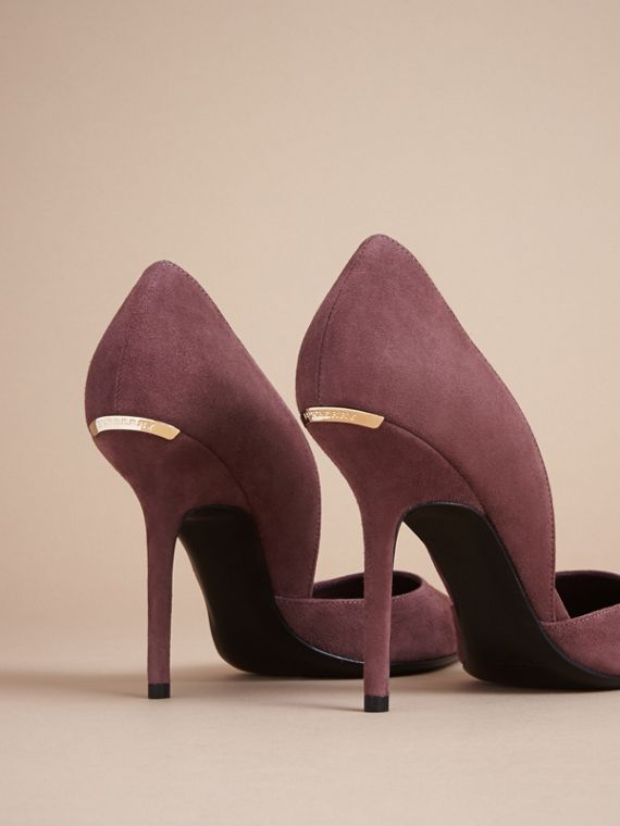 Point-toe Suede D'Orsay Pumps in Taupe Rose - Women | Burberry - cell image 3