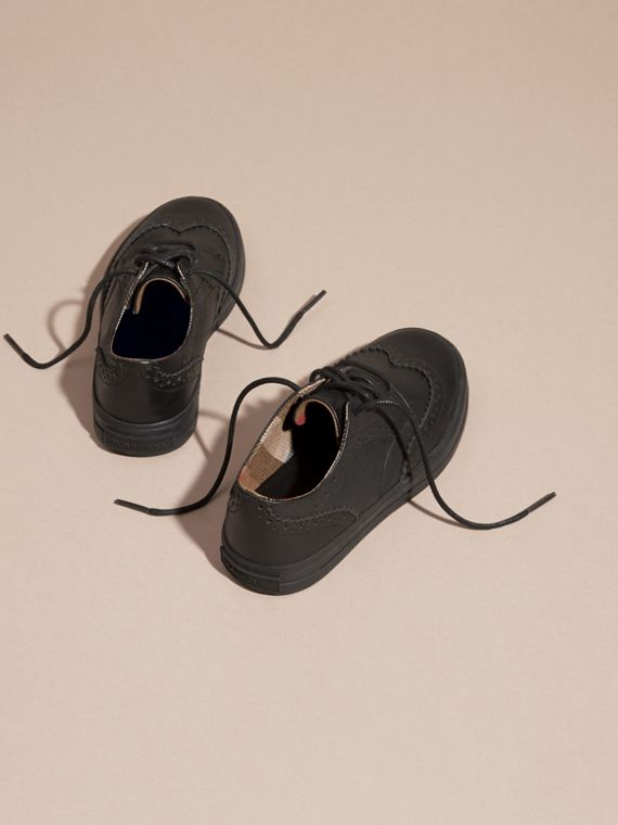 Leather Brogue-detail Trainers in Black - Boy | Burberry Singapore - cell image 3