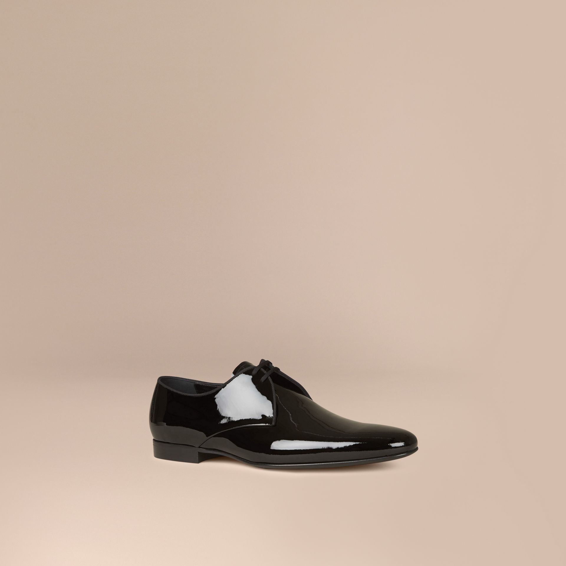 Polished Leather Lace-up Shoes in Black - Men | Burberry - gallery image 1