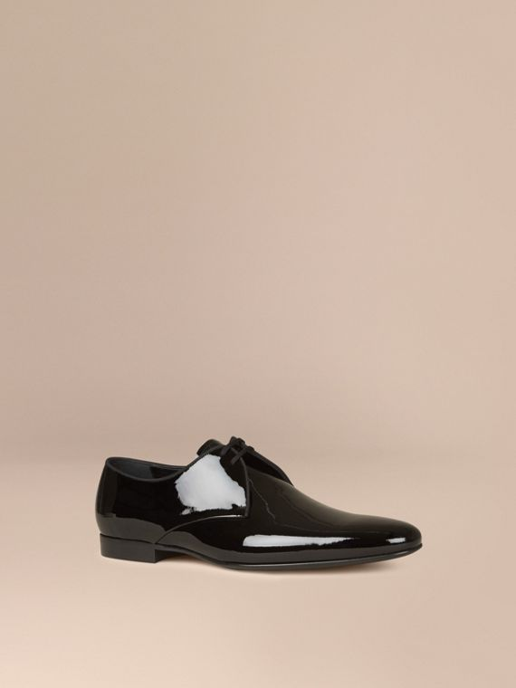 Polished Leather Lace-up Shoes Black