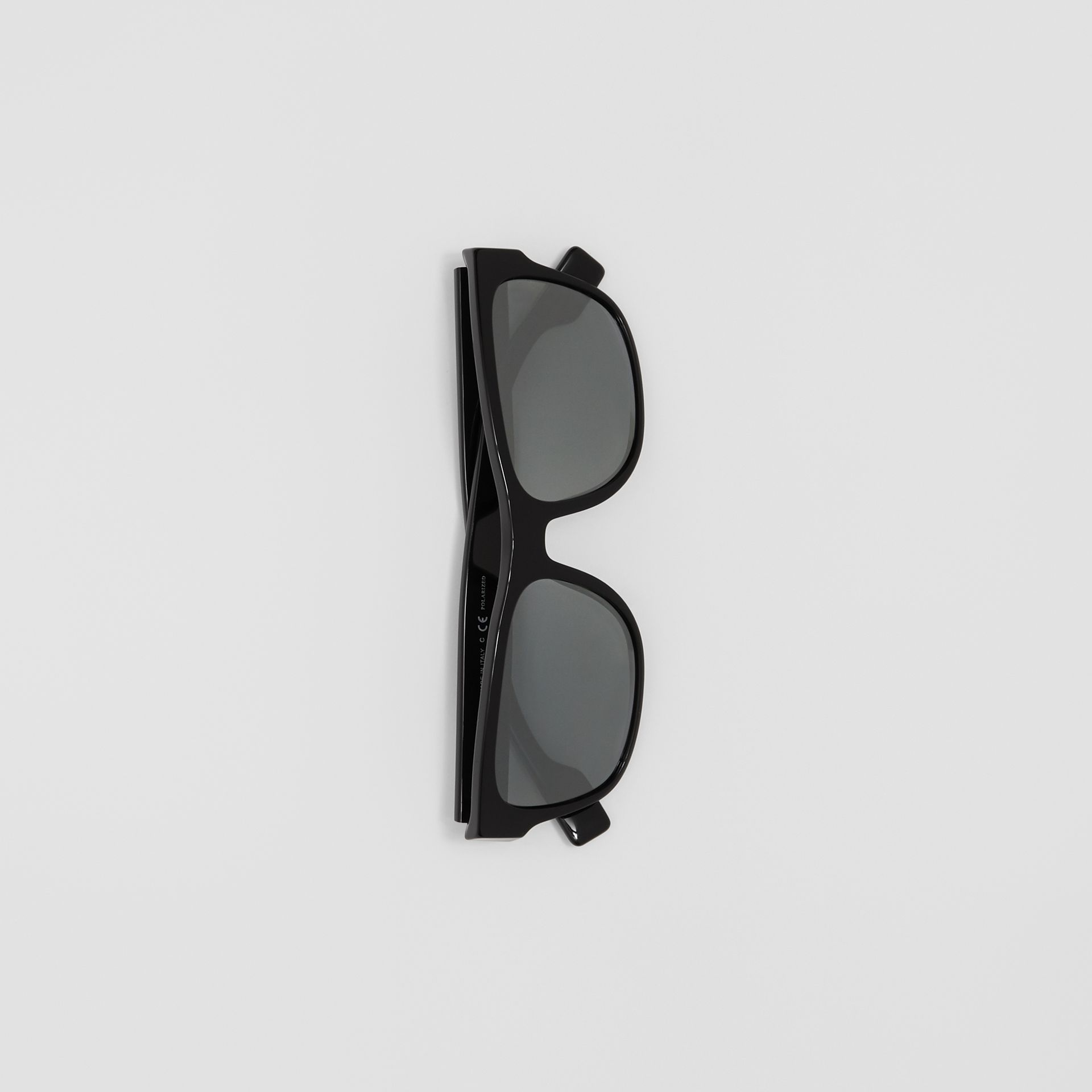 Logo Appliqué Square Frame Sunglasses in Black - Men | Burberry - gallery image 2