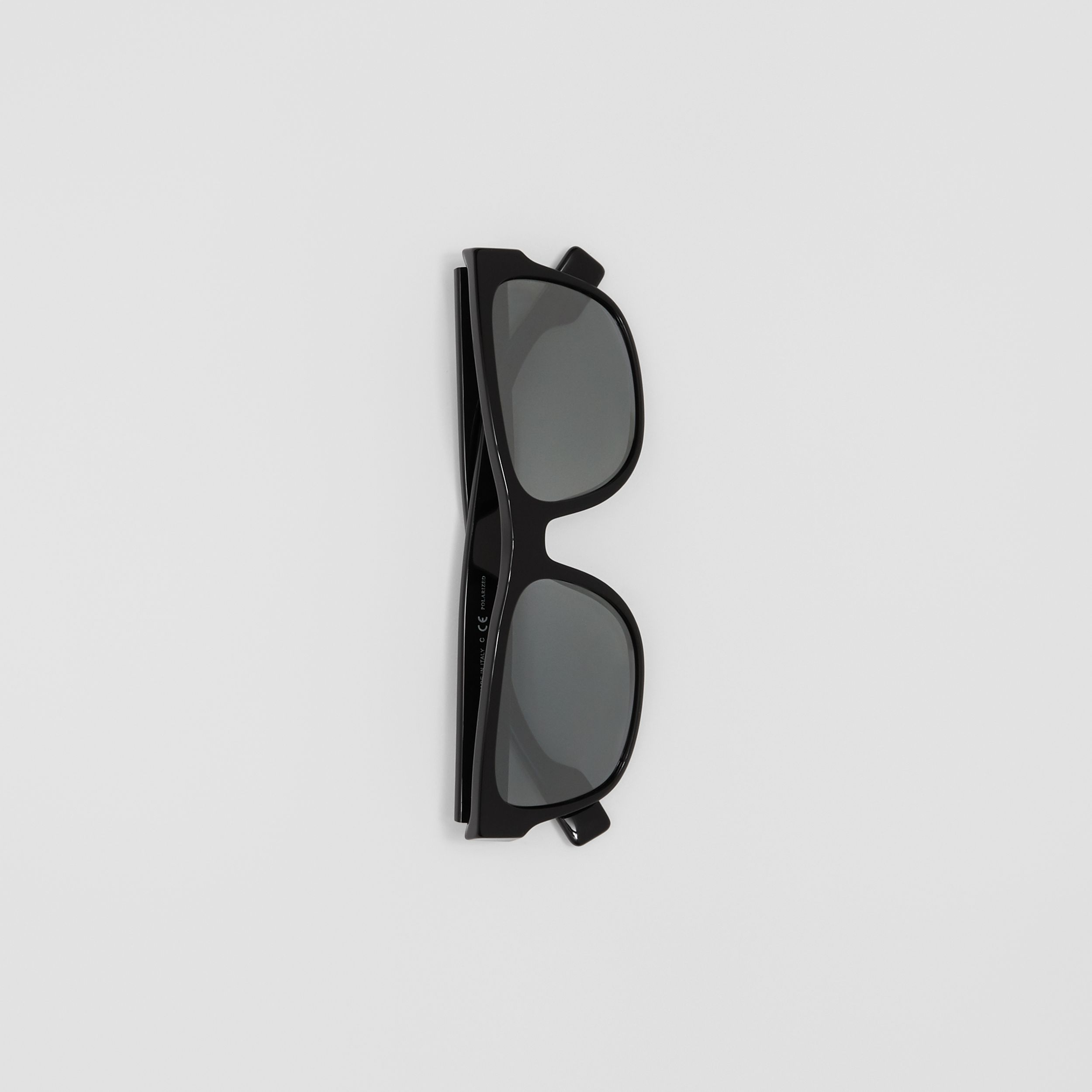 Logo Appliqué Square Frame Sunglasses in Black - Men | Burberry United Kingdom - 3