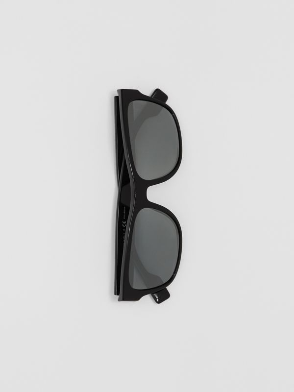 Logo Appliqué Square Frame Sunglasses in Black - Men | Burberry United Kingdom - cell image 2