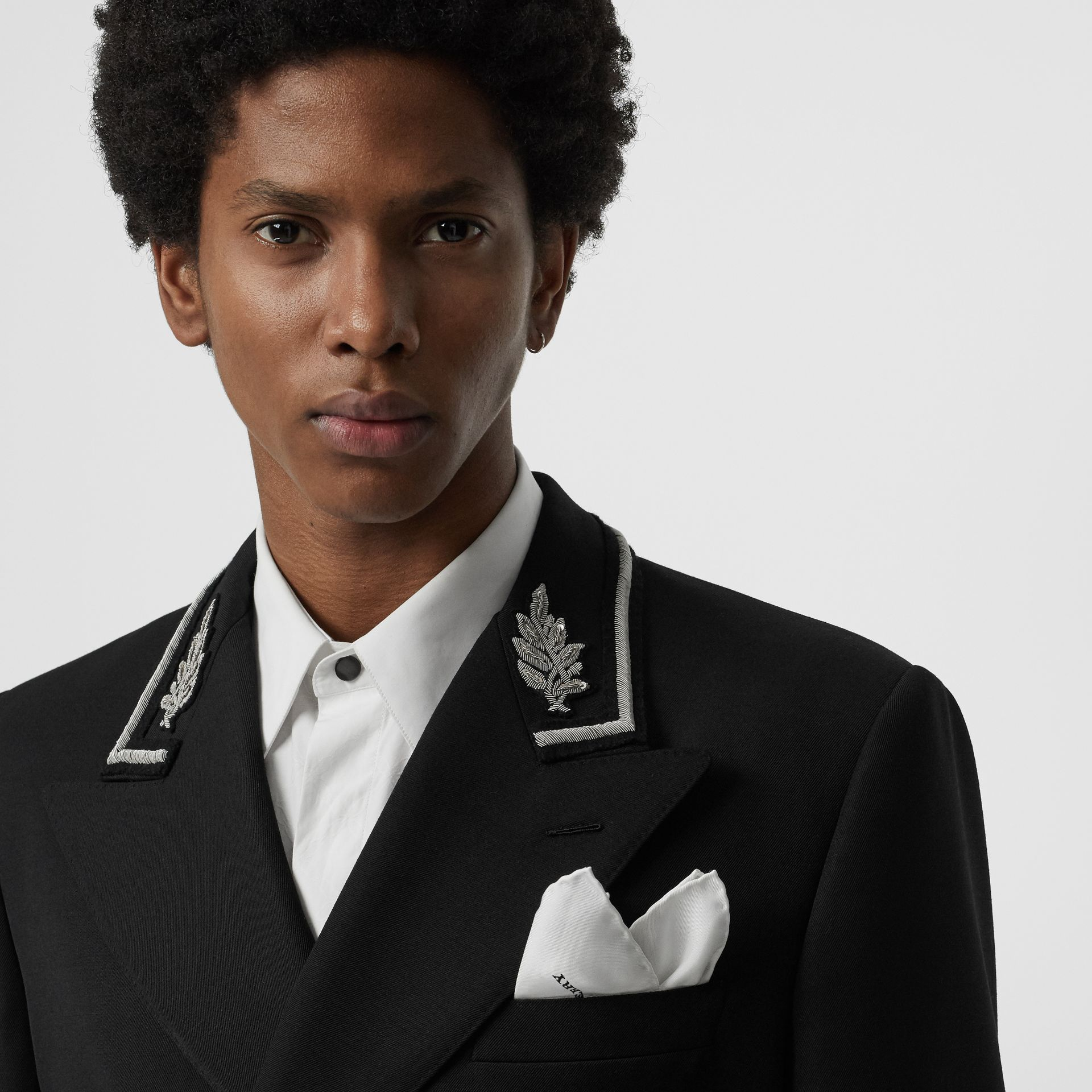 Silk Pocket Square in White - Men | Burberry United States - gallery image 2