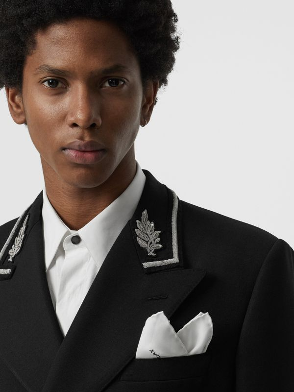 Silk Pocket Square in White - Men | Burberry Singapore - cell image 2
