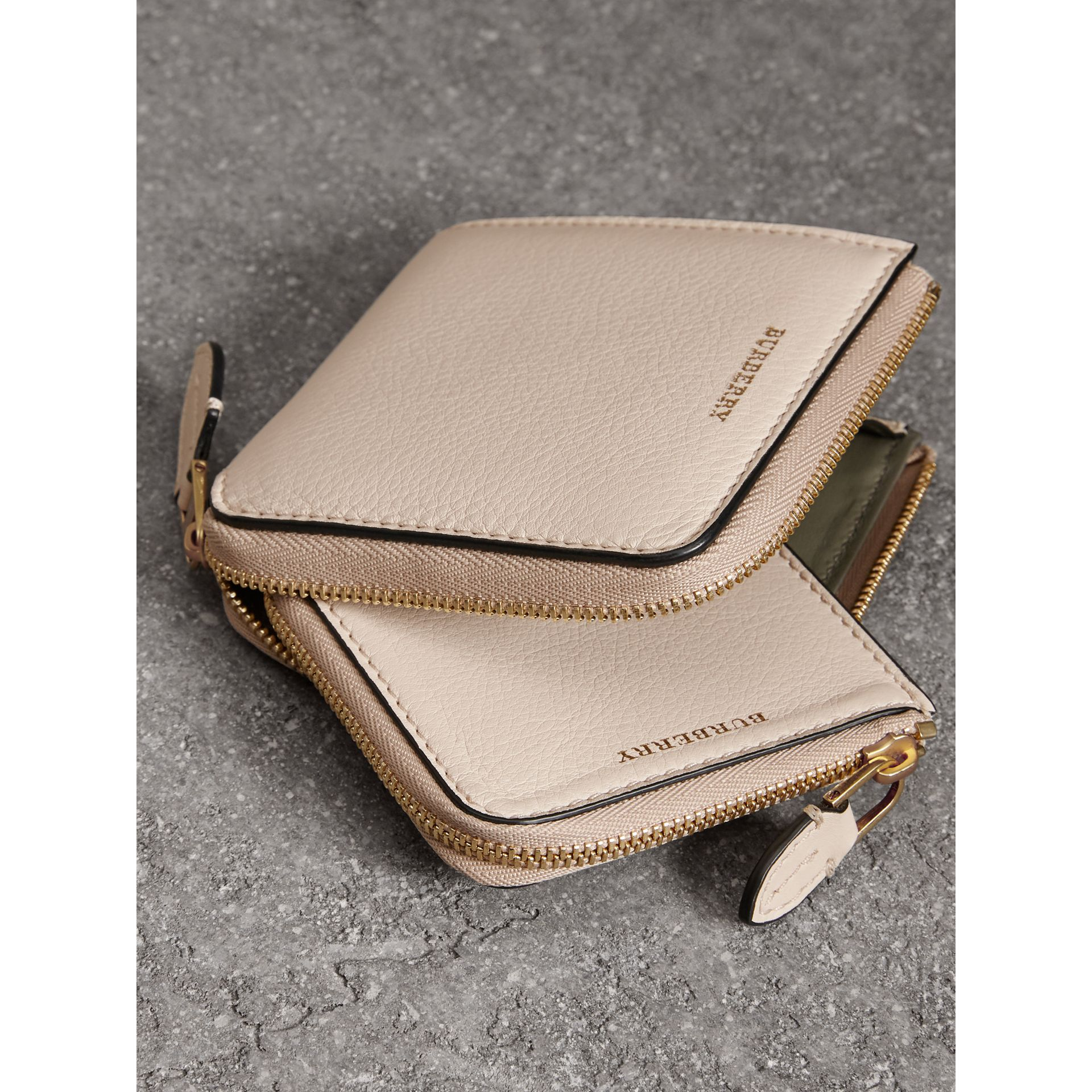 Grainy Leather Square Ziparound Wallet in Limestone - Women | Burberry United Kingdom - gallery image 3
