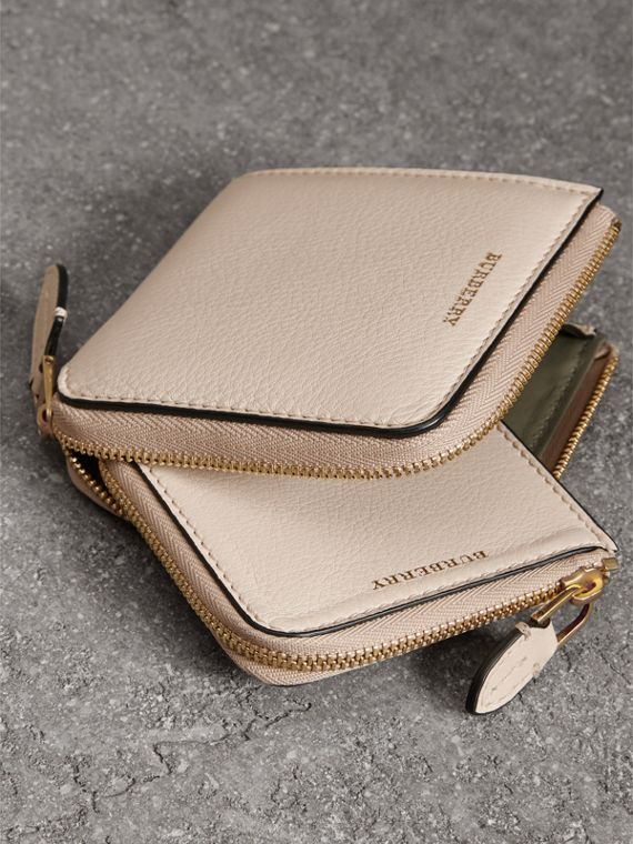 Grainy Leather Square Ziparound Wallet in Limestone - Women | Burberry - cell image 3