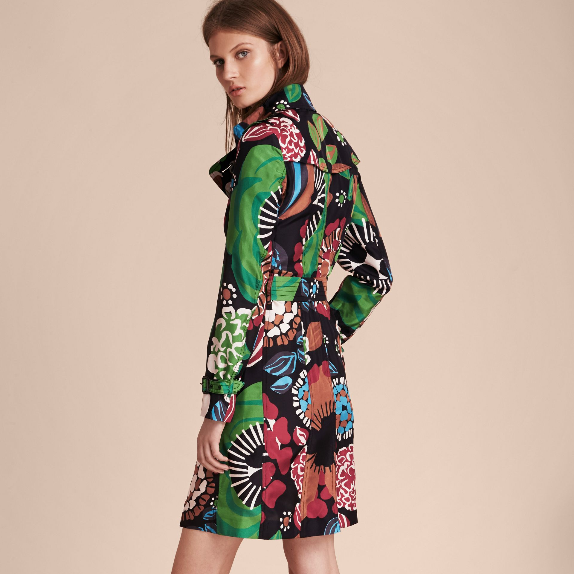 Deep navy Floral Print Silk Trench Coat - gallery image 3