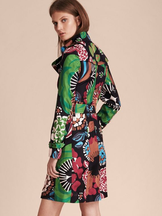 Deep navy Floral Print Silk Trench Coat - cell image 2